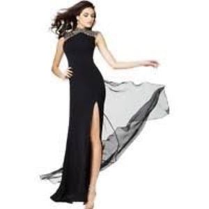 Black high neck beaded Jovani gown size 0